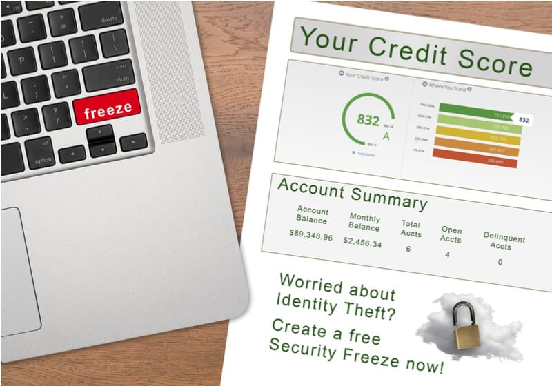 Credit report next to a laptop to freeze credit checks