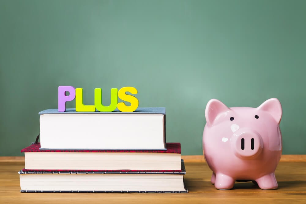 Books with PLUS loan and piggy bank