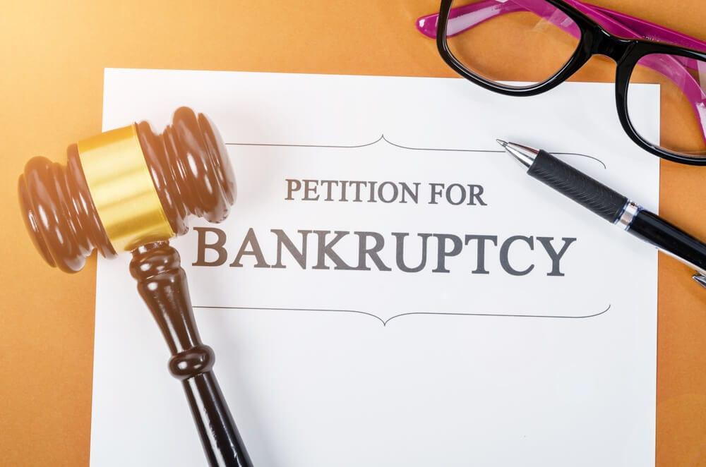 Petition for Bankruptcy papers and gavel