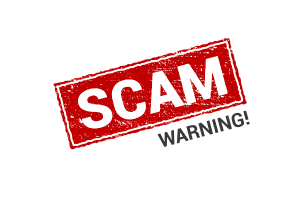 Scam warning stamp