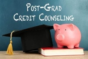 "Chalkboard with text that says ""Post-Grad Credit Counseling"""