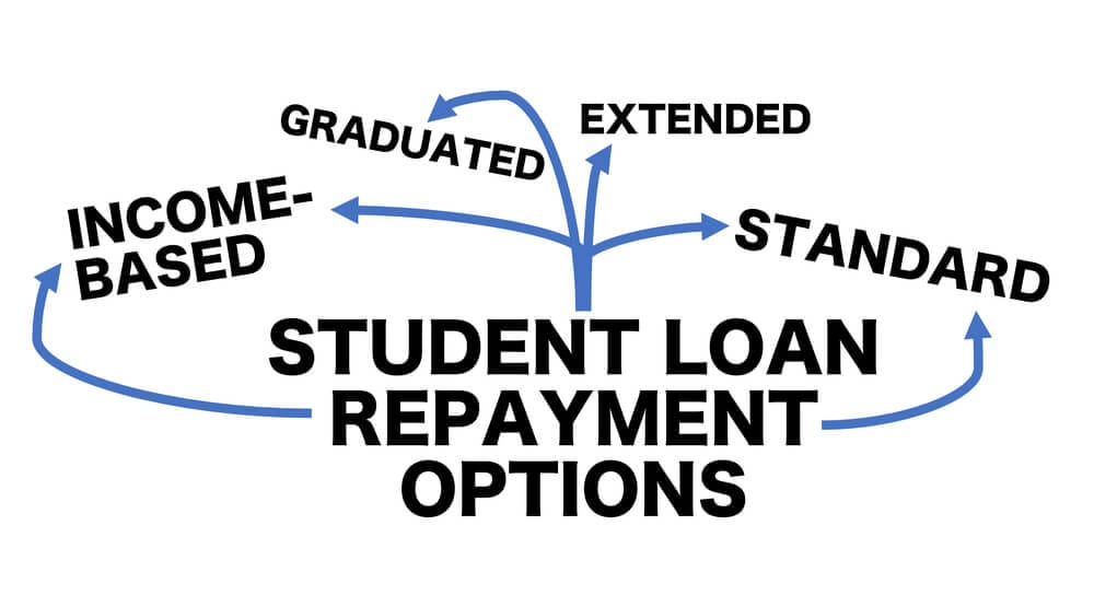 Flow chart showing different branches of student loan repayment options