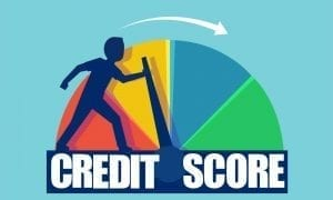 Vector of a businessman pushing scale changing credit information from poor to good