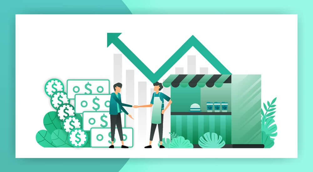 Illustration of small business making sales and increasing profits