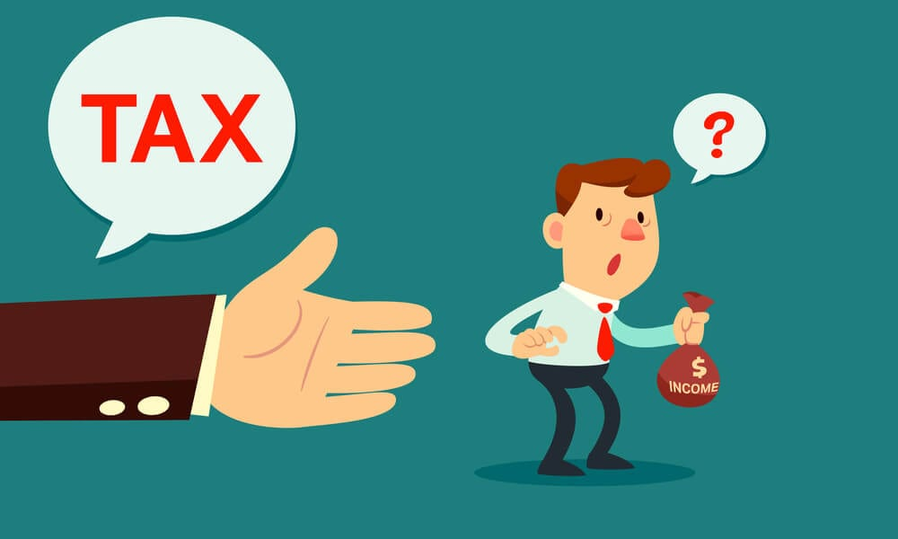 Illustration of giant hand asking confused businessman for tax money