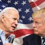 Trump and Biden looking at each other