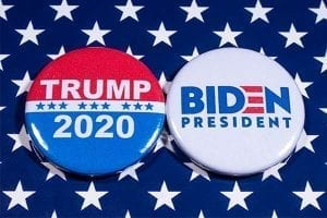 Campaign buttons for Trump and Biden