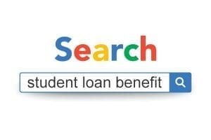 Google search bar with phrase student loan benefit