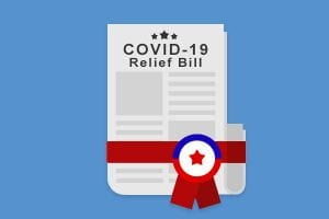 Image of newspaper titled Covid-19 Relief Bill with ribbon attached