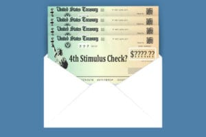 Envelope containing four stimulus checks