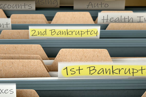 Filing cabinet with two bankruptcy folders
